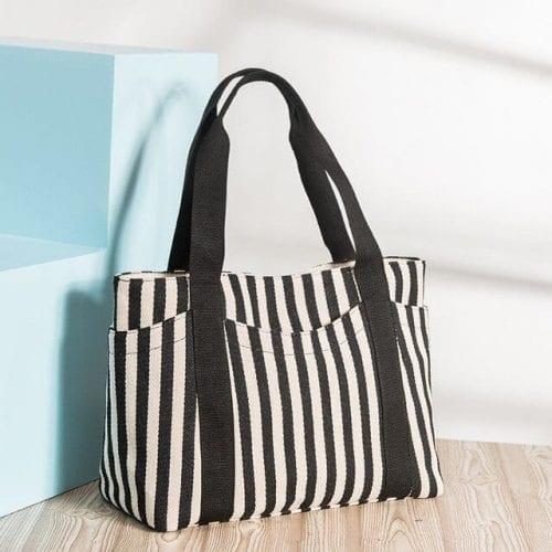 Cotton canvas top handle shoulder tote bag