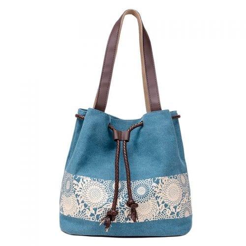 Cotton canvas top handle drawstring tote bag