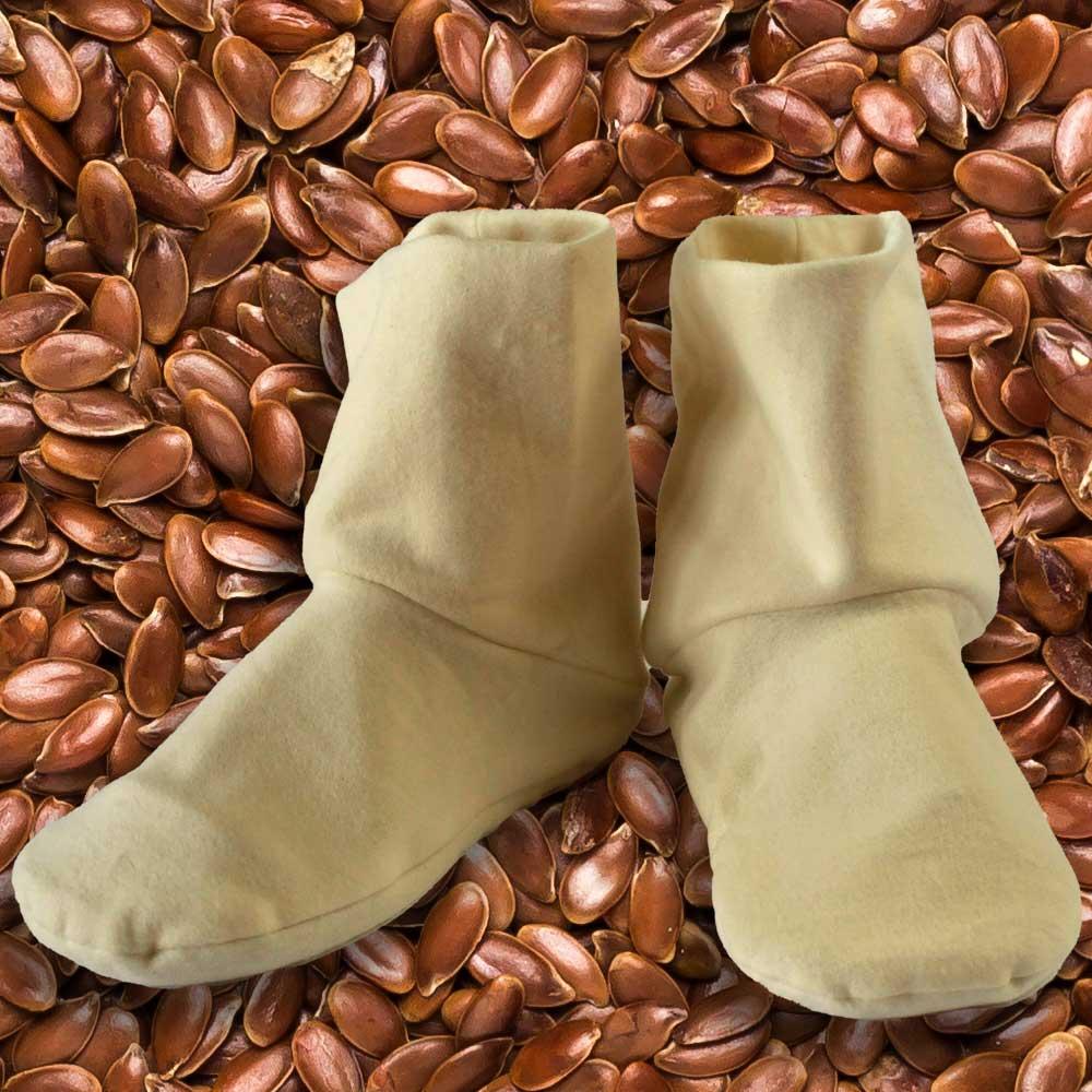 Flaxseed filled heatable booties