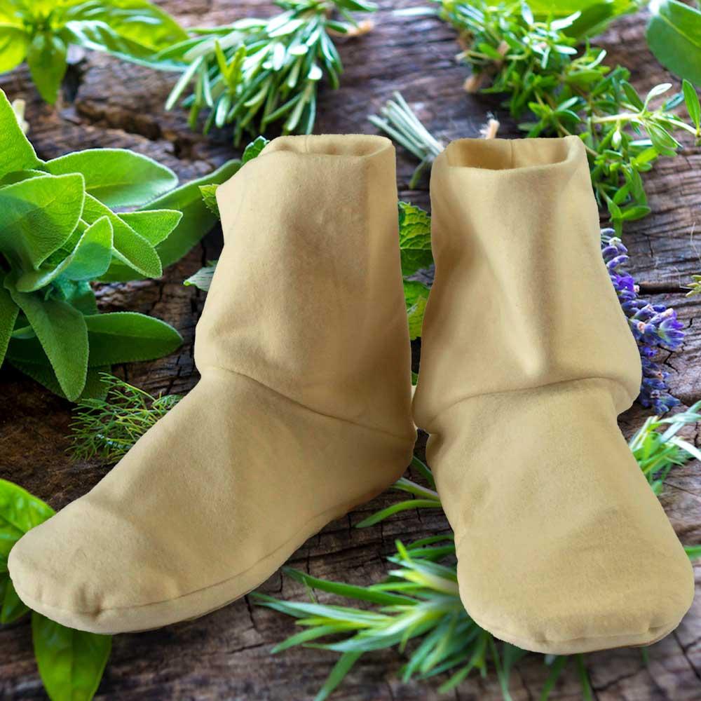 Aromatic herbs and flaxseed filled heatable organic cotton fleece booties