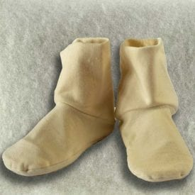 Aromatic herbs and flaxseed filled heatable organic cotton fleece booties